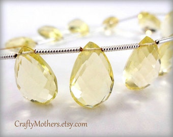 Use TAKE10 for 10% off! REDUCED, LEMON Hydro Quartz Faceted Pear Briolettes, 8mm x 16mm - (1) Matched Pair, neutral, pale yellow earring