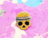 Burger Skull Enamel Pin, Enamel Skull Pin, Enamel Burger Pin, Cloisonne Pin, Lapel Pin