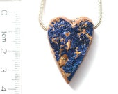 DVH Azurite Druzy Drusy Heart Focal Bead 35x24x14mm Morocco (7855)