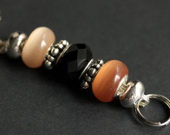 Badge Chain Lanyard. Neck Lanyard. Peach Badge Lanyard. ID Badge Holder. Peach and Black Lanyard Necklace. Teacher Gift. Handmade Lanyard.