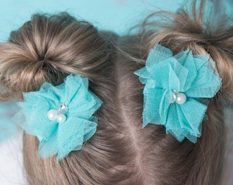 teal hair bow, teal flower clip, girl hair accessories, piggy tail hair clips, girl birthday gift, flower girl gift, baby hair clip, toddler