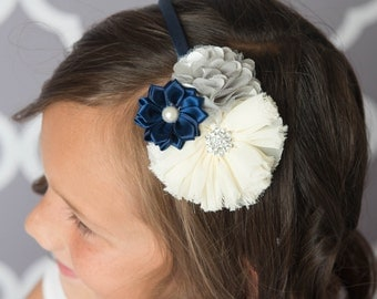 navy headband, ivory headband grey headband, silver headband, girl headband hard headband, toddler headband womens headband, flower headband