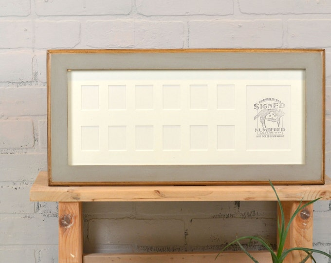 "7.5x18"" School Days Frame with Mat Window Openings for (1) 3.5x5 and (12) 1.5x2"" Photos with Vintage Grey Finish - IN STOCK - Same Day Ship"
