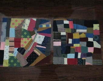 2 Antique Crazy Quilt Blocks Squares  Victorian Era