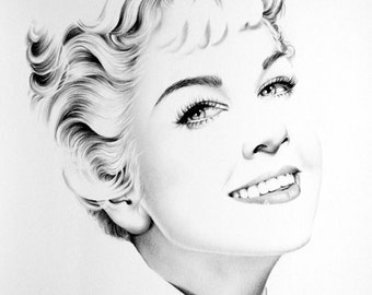 Doris Day Original Pencil Drawing Minimalism Fine Art Portrait