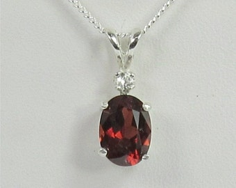 Garnet 8x6mm 1.5ct White Zircon Sterling Silver Pendant Necklace Natural Untreated