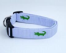 See Ya Later Alligator Blue and White Seersucker With Green Alligators Dog Collar