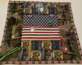 "Military Fidget Blanket / 25"" x 25"" / Veteran / Alzheimer's Stroke Rehabilitation Dementia Patient Restless Sensory / FREE NAME"