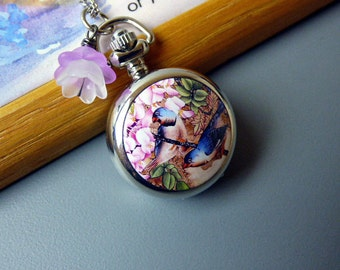 18th Century Antique Style Pocket Watch Pendant Necklace , Blue Birds on Tree Branch with Pink Orchid Blossoms, Women's Watch