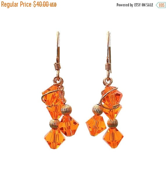 On Sale Sun Orange Array Earrings - 35mm length - orange crystal summer earrings - gold filled earwires