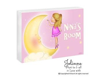 Girl and moon personalized door sign , kids door signs, door sign custom, kids personalized gifts, kids art, kids room art,pink door plaque