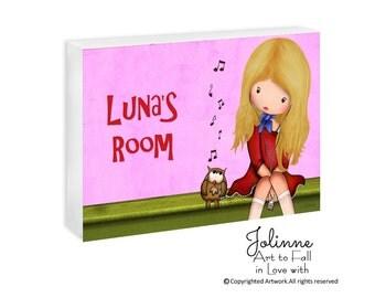 Personalized kids door sign , owl door hanger , girls room decor personalized name wall art, kids wall art, nursery art, nursery sign