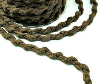 "Brown cord, brown twisted cotton cord, brown rope, brown twisted cotton rope, soft cotton cord, 8mm cotton cord, ""S"" cord (2m)"