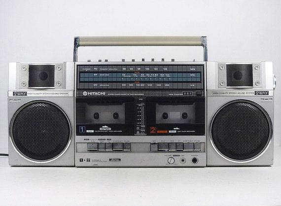 vintage 80 39 s hitachi boombox ghetto blaster cassette deck. Black Bedroom Furniture Sets. Home Design Ideas