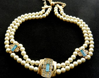 1930s lovely two strand velvety pearls and dazzling aquamarine stones choker necklace HP signed - exquisite nostalgic beauty -art.37/4 -