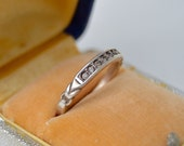 Vintage. Antique. Sterling Channel Set Ring . Clear Stones