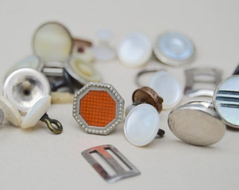 14 ANTIQUE Collar Buttons &  Cuff Links . Mixed Pieces .  Lot Reuse