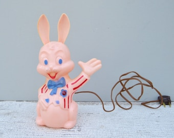 RARE Vintage Hard Plastic Bunny Light Easter Decor. 1950s/Easter Collectible