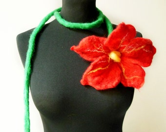 felt red flower necklace scarf, felted flowers lariat, eco friendly, christmas star necklace