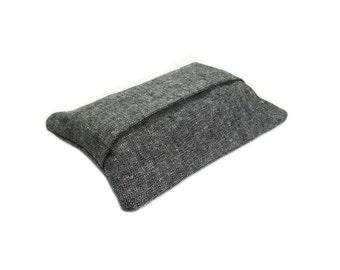 Black Tissue Holder, Travel Tissue Case, Tissue Cozy, Pocket Tissue Holder, Linen Tissue Cover, Dad Gift, Mens Tissue Case