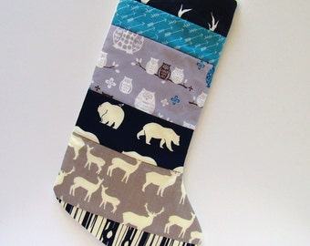 Quilted Christmas Stocking-Rustic-Woodland Navy Blue-Teal-Gray-Buck-Antler-Elk-Deer-Bear Hike-Owl