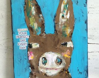 Donkey painting, 12 x 16 canvas, original and whimsical, mixed media art
