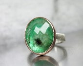 Rose-Cut Oval Emerald Engagement Ring 14k Rose Gold Silver Rustic Romantic Green Forest Lake Natural Cut Gemstone May Birthstone - Waldsee