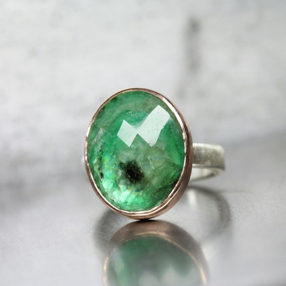 cut oval emerald engagement ring 14k gold silver