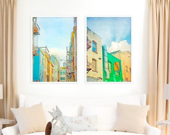 San Francisco Streets // SET OF 2 Large Photography Prints // California Art with a Pop of Kelly Green for a Large Wall // Photography Gift