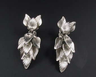Leaf Earrings, Silver Earrings, Cluster Earrings, Dangle Earrings, Star Earrings, Statement Earrings