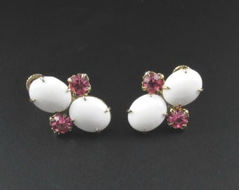 Milk Glass Earrings, Rhinestone Earrings, Pink Rhinestone Earrings, White Earrings, Pink Earrings