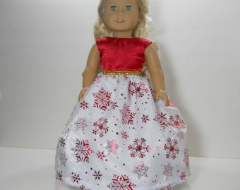 18 inch doll clothes made to fit dolls such as American Girl, Red Party Fancy Gown Snowflake Dress, 10-1414
