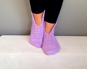 Knitted Slippers, Wool Slippers, Lilac Slippers, Women Slippers, Handmade Slippers, Slippers, House Slippers