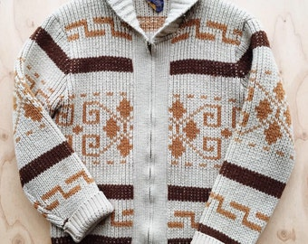"Vintage PENDLETON ""The Dude"" Big LEBOWSKI Western Wear Cowichan 60s Shawl Collar 100% Virgin Wool Cardigan Sweater 