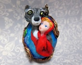 Red Riding Hood and Wolf Grimms Fairytale OOAK Fantasy Art Duck Egg Ornament