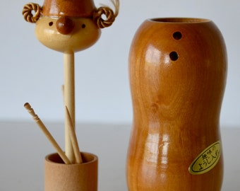 Vintage Wooden Figural Toothpick Holder