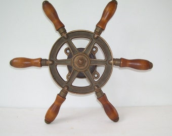 Wilcox and Crittenden  Boat Steering  Wheel, Bronze and Wood , Nautical Sailboat, Seaport, Cottage By the Lake, Marine, Yacht, Fishing boat