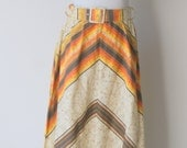 Vintage 1970s Orand And Brown Boho Batik-ed Maxi Skirt