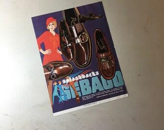 1969 Sebago ad Mademoiselle magazine august college issue splashbacks shoe Jaclyn handbag turquoise orange brown wall art olorful mod