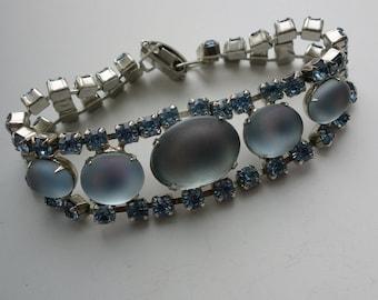 Moonglow Blue Glass Rhinestone Costume Bracelet