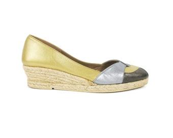 25% OFF SALE 1980s Espadrille Wedges Gold Leather Wedge Heels Peep Toe Pumps Silver Bronze Metallic Heels Flatforms Straw Sandals (7.5)
