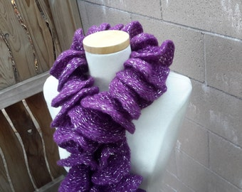 Purple Ruffle Scarf | Hand Knit Frilly Purple & Silver Spiral Scarf