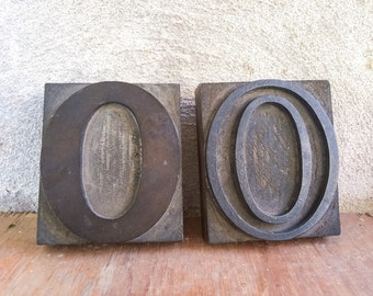 Vintage letterpress printing blocks letter O, typography printer blocks, industrial decor, wooden letters, bookshelf decor, gift for writer