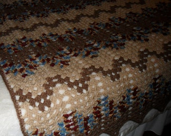New(Ready to Ship) Crochet (Queen) Afghan - Crochet Bedspread - Crochet Blanket - Crochet Throw - Coverlet - ''PAINTED DESERT'' in Browns