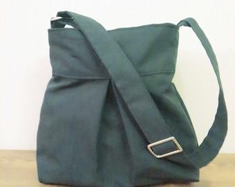 Grey Messenger Bag-Zipper Closure-Pleated Bag-Adjustable to Straps