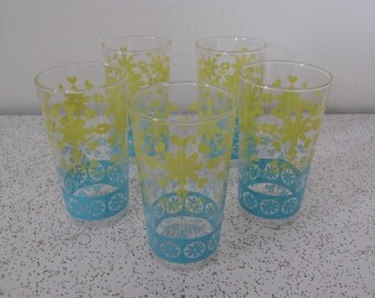 pastel icicles...set of 5 vintage water glasses