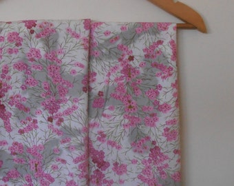 blossom in pink and grey...pair of vintage pillowcases