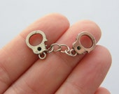 6 Pair of handcuff charms antique silver tone G82
