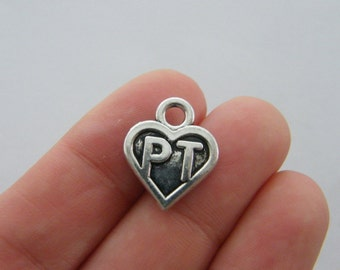 4 PT heart charms antique silver tone MD75
