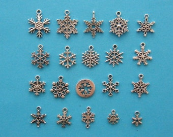 The Ultimate Snowflake Charms  Collection - 20 different antique silver tone charms